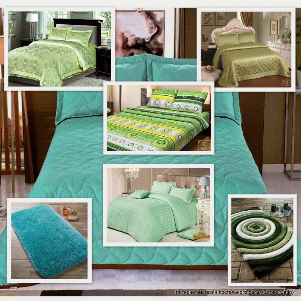 Оформление спальной комнаты в зеленом цвете