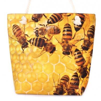 Сумка летняя женская Френди 0216 с пчелами, размер 30х40х13 см