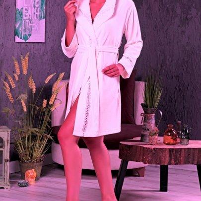 Халат женский велюр-махра Nusa. Модель NS 0355 PUDRA