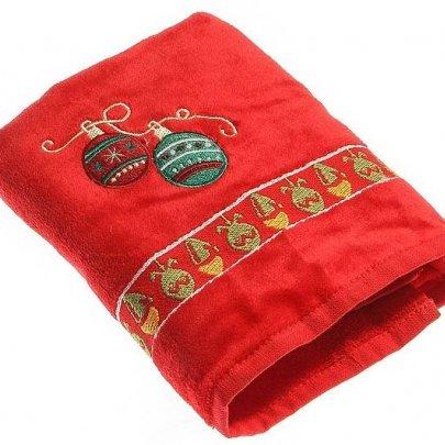 Махровое полотенце Homeline. Christmas Шарики красное