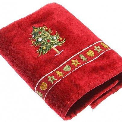 Махровое полотенце Homeline. Christmas Елочка красное