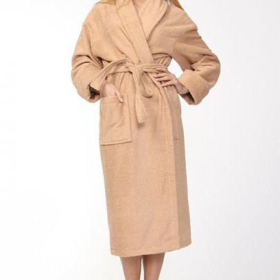 Женский махровый халат Азербайджан. Кофейный