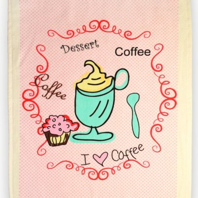 Полотенце велюровое кухонное Akipek. Рожева кава