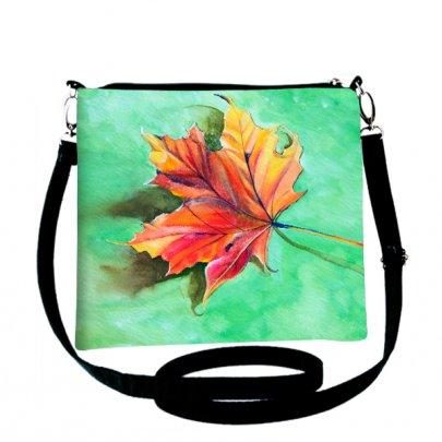 Клатч женский Лоск Кленовый лист, размер 25х20 см