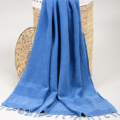 Пляжное полотенце Barine. Pestemal Stone Denim синее