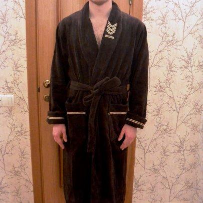 Халат мужской махровый Nusa, модель 2195 коричневый