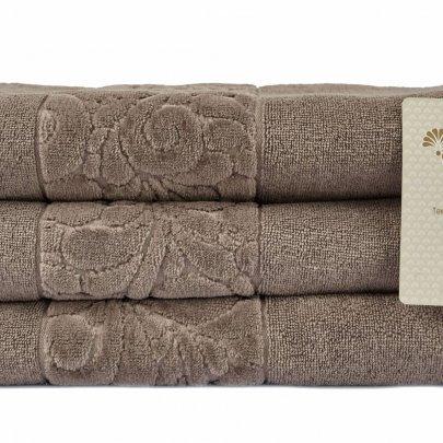 Махровое полотенце Arya. Liber Бархат, темно-бежевого цвета