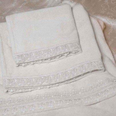 Набор женский из 3-х полотенец Gudinni. Isa молочного цвета