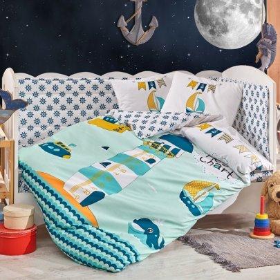 Детское постельное белье HOBBY. Poplin Bebek Baby Sailor зеленый