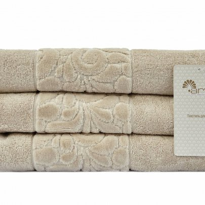 Махровое полотенце Arya. Liber Бархат, бежевого цвета