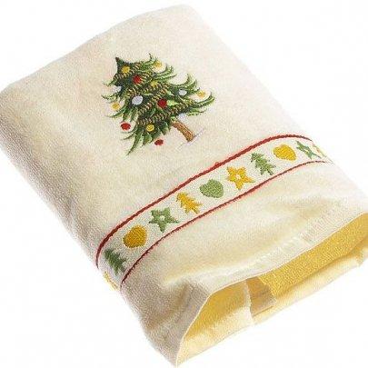 Махровое полотенце Homeline. Christmas Елочка кремовое