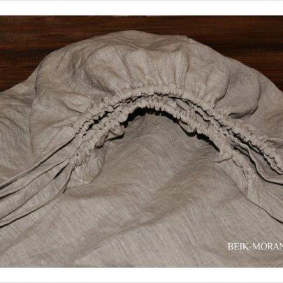 Простынь на резинке BEIK-MORANDI. 100% лен Grey