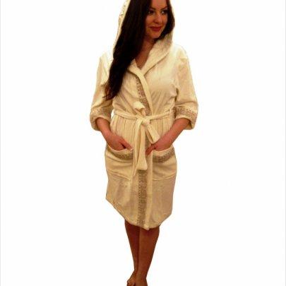 Nusa, халат женский трикотажный, модель 8295 кремовый