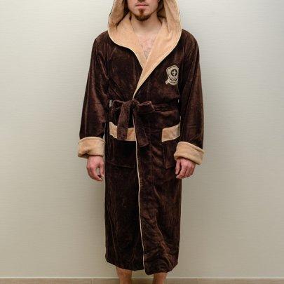Халат мужской велюр-махра Nusa, модель 7160 коричневый