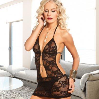 Комплект эротического белья пеньюар + трусики Lady Lingerie. Модель 3916, черного цвета