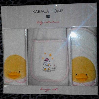 Детский набор в ванную Karaca Home. Duck, розового цвета, 3 предмета