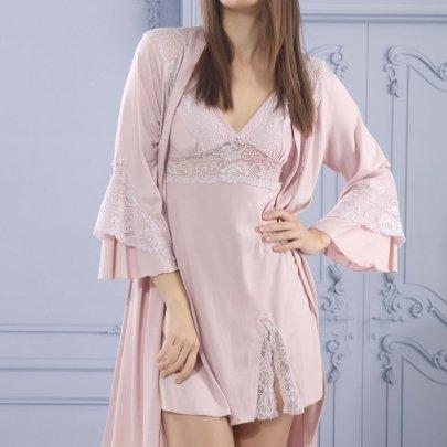 Ночная сорочка и халат Mariposa. Модель 7517 pudra