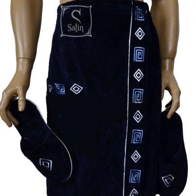Набор для сауны бамбуковый мужской Nusa, модель NS 040 синий, 2 предмета