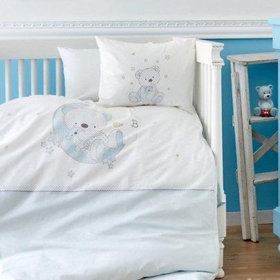 Постельный набор в кроватку с бортиками и одеялом Karaca Home. Ранфорс Bebek Moon 10 предметов