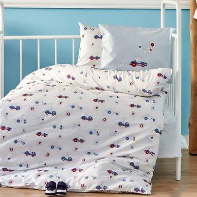 Постельный набор в кроватку с бортиками и одеялом Karaca Home. Ранфорс Bebek My Car 10 предметов
