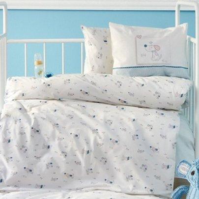 Постельный набор в кроватку с бортиками и одеялом Karaca Home. Ранфорс Bebek Woof 10 предметов