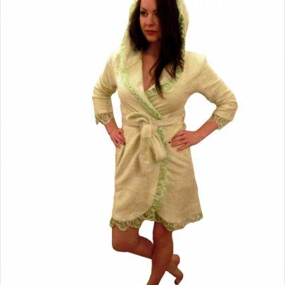 Nusa, халат женский, модель 031 салатового цвета