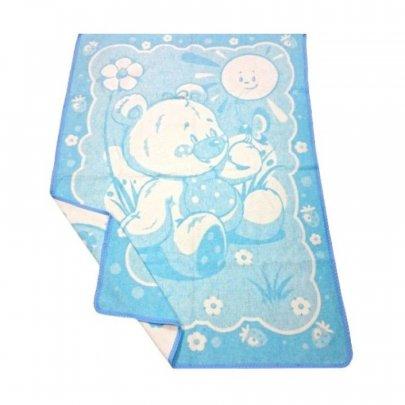 Детское жаккардовое одеяло Vladi. Мишка на лужайке голубого цвета, размер 100х140 см