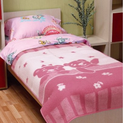 Детское жаккардовое одеяло Vladi. Умка розового цвета, размер 100х140 см