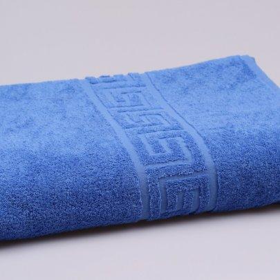 Простынь махровая Аиша синяя с греческим бордюром