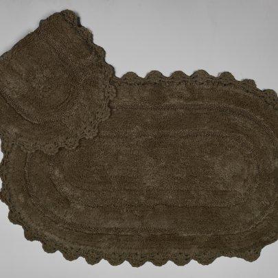 Набор ковриков для ванной Аrya из Гипюра. Afro темно-коричневый, 2 предмета