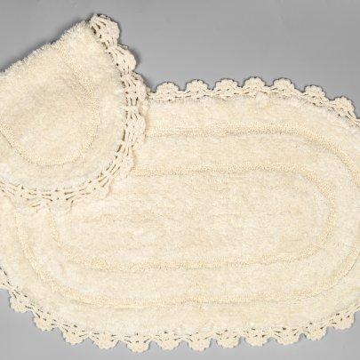 Набор ковриков для ванной Аrya из Гипюра. Afro, кремовый, 60х100 см, 2 предмета