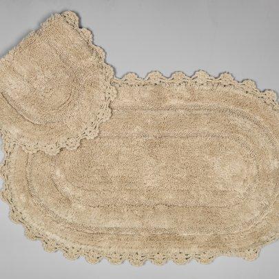 Набор ковриков для ванной Аrya из Гипюра. Afro бежевый, 2 предмета