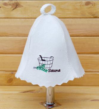 Шапка для сауны Сауна (черная вышивка)