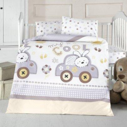 Постельное белье в детскую кроватку Arya. Ранфорс Coll Baby голубой