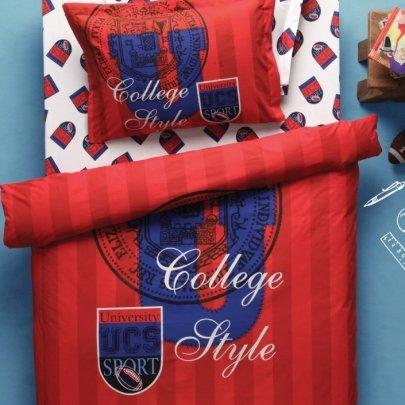 Постельное белье Karaca Home. Ranforce College красного цвета