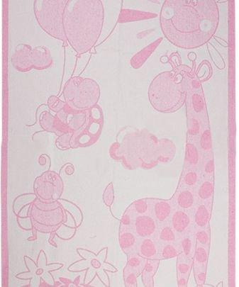 Хлопковое детское одеяло Vladi Люкс. Жираф розовый, размер 100х140 см