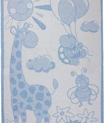 Хлопковое детское одеяло Vladi Люкс. Жираф голубой, размер 100х140 см