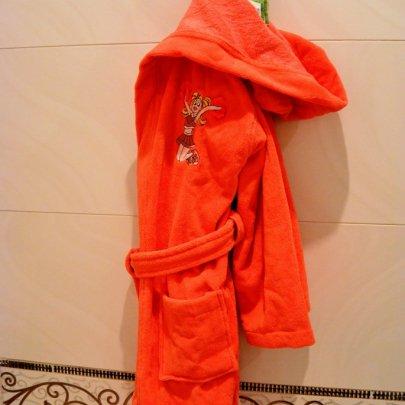 Халат детский махровый Nusa. Принцесса кораллового цвета