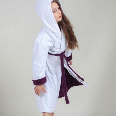 Махровый детский халат для девочки с капюшоном Guddini. Alice (2) белый с лавандой