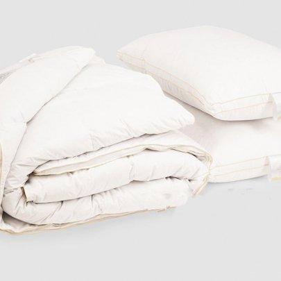 Комплект одеяло и две подушки Iglen. Royal series пуховые (белый пух) демисезонные в батистовом тике в ассортименте