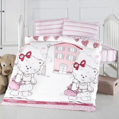 Постельное белье в детскую кроватку Arya. Ранфорс Love