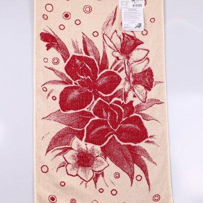 Махровое полотенце Речицкий текстиль. ИРИСЫ красный