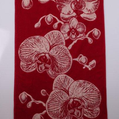 Махровое полотенце Речицкий текстиль. ОРХИДЕЯ  красное