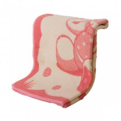 Детское жаккардовое одеяло Vladi. Мишка на лужайке розового цвета, размер 100х140 см