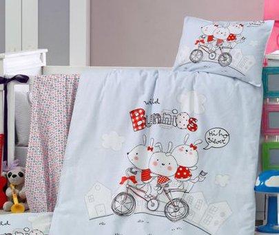Постельное белье в детскую кроватку Home Line. Ранфорс Зайчики