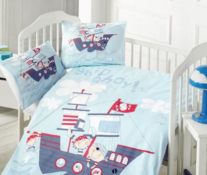 Постельное белье в детскую кроватку Home Line. Ранфорс Корабль
