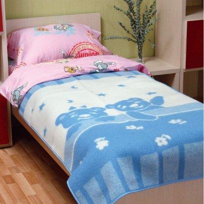 Детское жаккардовое одеяло Vladi. Умка голубого цвета, размер 100х140 см