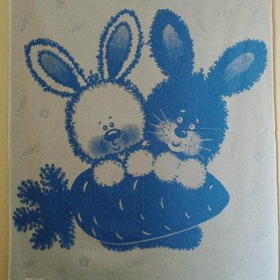 Детская махровая простынь Речицкий текстиль. Зайка голубая, 104х160см
