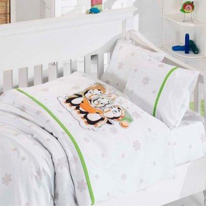 Детское постельное белье белье First Choice. Penguins Yesil