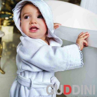 Махровый детский халатик для девочки Guddini. Mari белый